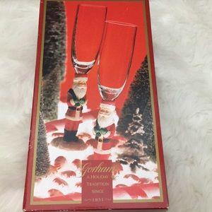Vintage Gorham Winter Follies Santa Flute Pair NIB
